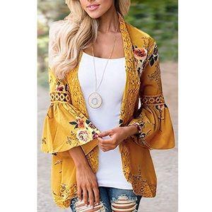 Sweaters - 'MARIGOLD' Floral Kimono Cardigan
